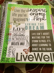 vision page in my health planner